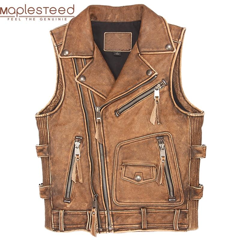 Vintage Brown Thick Motorcycle Vest 100% Genuine Cowhide Men Biker Leather Vest Moto Leather Waistcoat Sleeveless Jacket M462