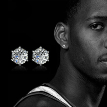 2019 Hot Sale Small Crystal Stud Earrings In Stainless Steel Men Jewelry Silver Pair Crown Zircon Earring Women Mens
