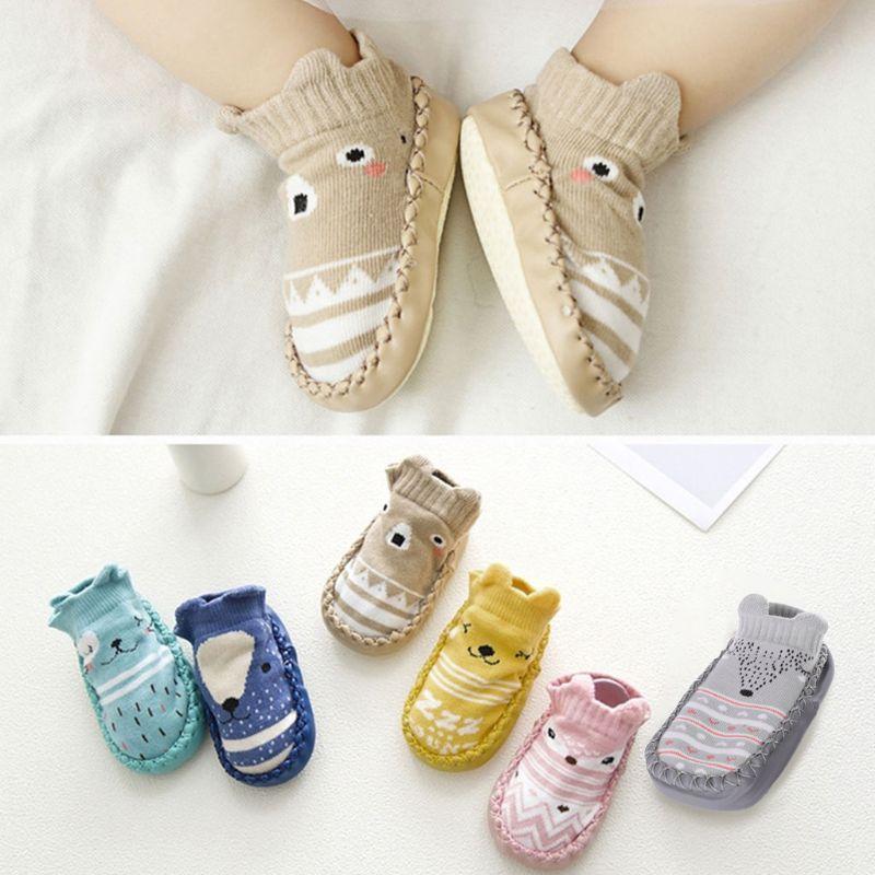 Cartoon Baby Shoes Floor Socks Anti Slip Toddler Cotton Indoor Walk Learning New DXAD