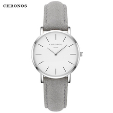 CHRONOS Women Watch Ladies Leather Sewing Side Suede Buckle