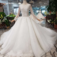 LS20093 like white wedding dresses with bridal veil handmade Eastern style simple wedding gowns 2020 new fashion high quality