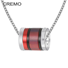 Cremo Red Pendant Custom DIY Rotating Charm Chain Necklace Femme Bijoux Stainless Steel Women Jewelry Choker