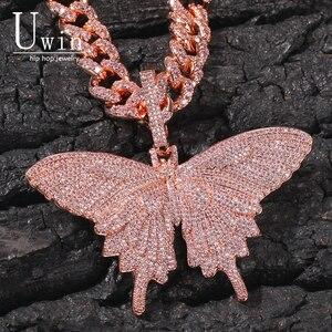 Image 1 - Uwin Monarch Butterfly różowy Rosegold CZ wisiorek z 9mm 12mm CZ kubański łańcuch Micro Pave Cubic naszyjnik cyrkoniowy biżuteria na prezent