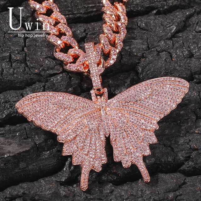Uwin Monarch Butterfly różowy Rosegold CZ wisiorek z 9mm 12mm CZ kubański łańcuch Micro Pave Cubic naszyjnik cyrkoniowy biżuteria na prezent