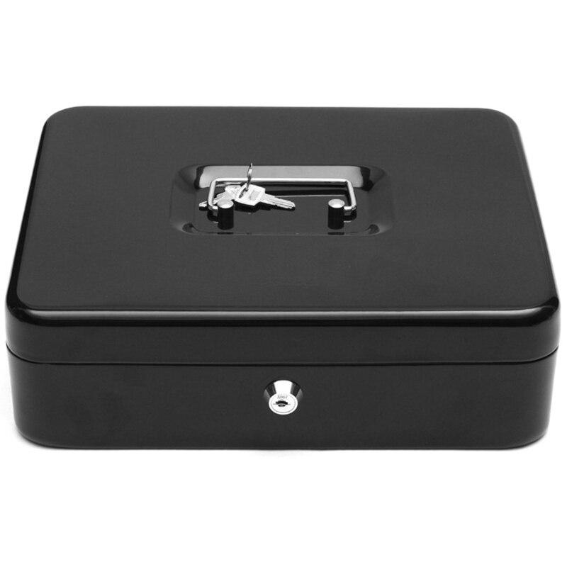 Черный металлический железный ящик для денег, ящик с ключом, замок безопасности, многослойный лоток для хранения, для безопасного домашнего офиса, контейнер, инструмент