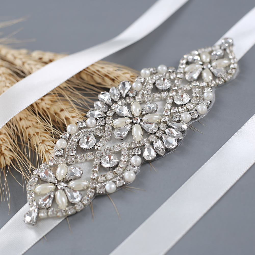 TRiXY S76 Sparkly Bridal Belt Silver Diamond Belt Rhinestone Belts For Prom Dresses Plus Wedding Dress Belt Bridal Decoration