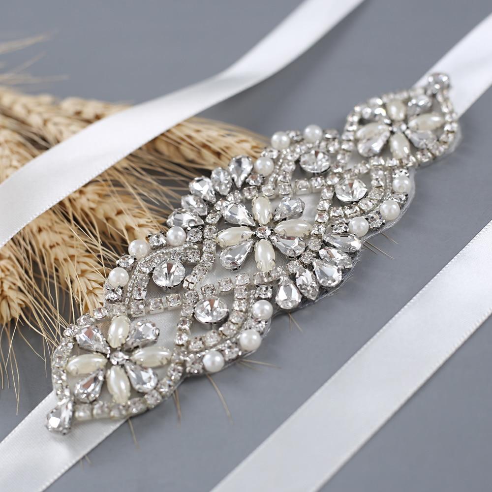 TRiXY S76 Sparkly Bridal Belt Silver Diamond Belt Rhinestone Belts For Prom Dresses Plus Wedding Dress Belt Bridal Decoration
