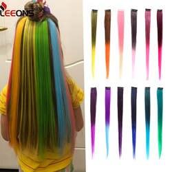 Leeons клип в один кусок для Ombre наращивания волос чистый цвет прямые Длинные Синтетические волосы искусственные волосы клип в 2 тона волос