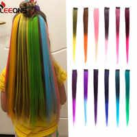 Leeons-extensiones de cabello sintético largo liso, Clip de una pieza para extensiones de cabello ombré, Color puro, piezas falsas de cabello en 2 tonos