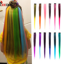 Hair-Extensions Pieces Synthetic-Hair Clip-In Long Ombre Straight Pure-Color Leeons