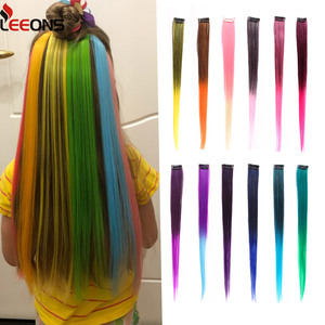 Leeons Clip-In One Piece For Ombre Hair Extensions Pure Color Straight Long Synthetic Hair Fake Hair Pieces Clip In 2 Tone Hair(China)