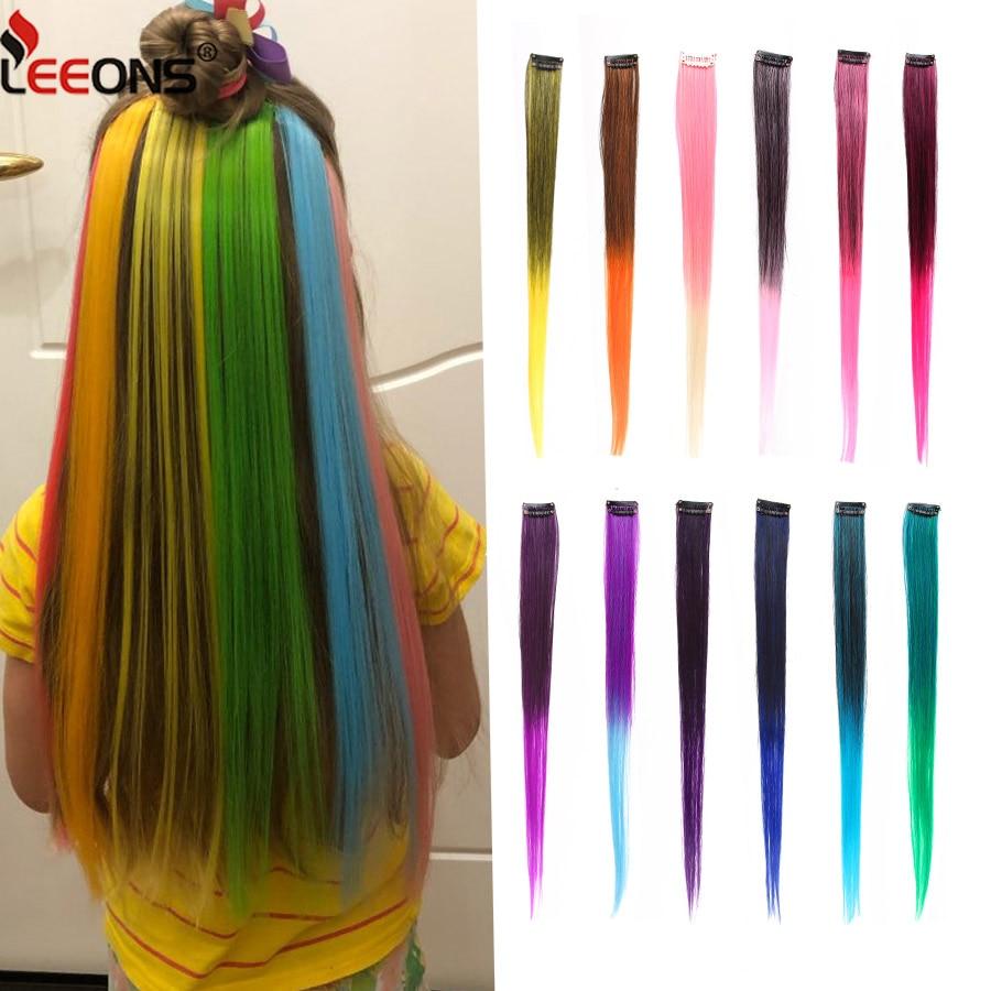 Leeons Clip-en una pieza para extensiones de cabello Ombre Color puro liso pelo sintético largo piezas falsas de cabello Clip en 2 tonos de cabello