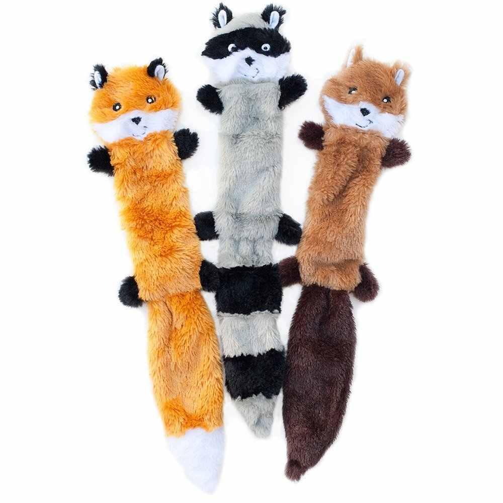 Peluche Squeak Toys,Skinny Peltz No Stuffing 삐걱 거리는 봉제 인형 장난감, 여우, 너구리 및 다람쥐-대형 개 용품