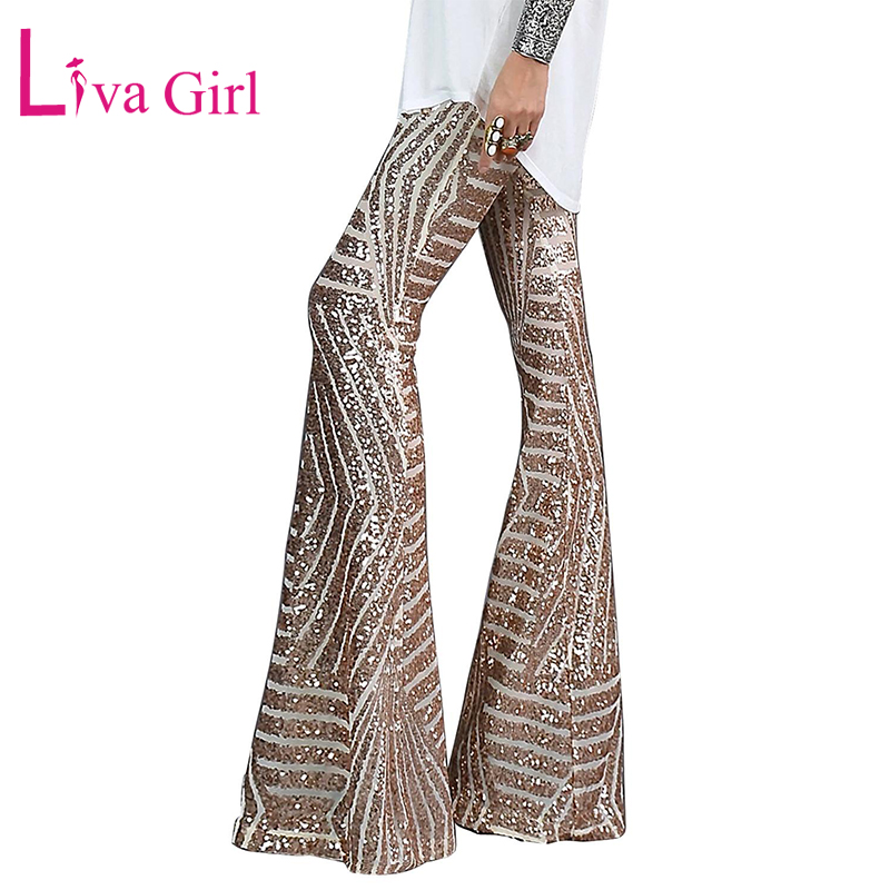 LIVA GIRL Black/Apricot Sequin Trousers Women Sequin Wide Leg Pants Female Hight Waist Flared Pant Disco Dance Woman Long Pants