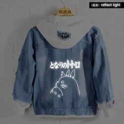 Neue Frühjahr Miyazaki Hayao Totoro hoodie Anime Jeans Mantel Männer reflektieren licht Frauen Mode Jacke