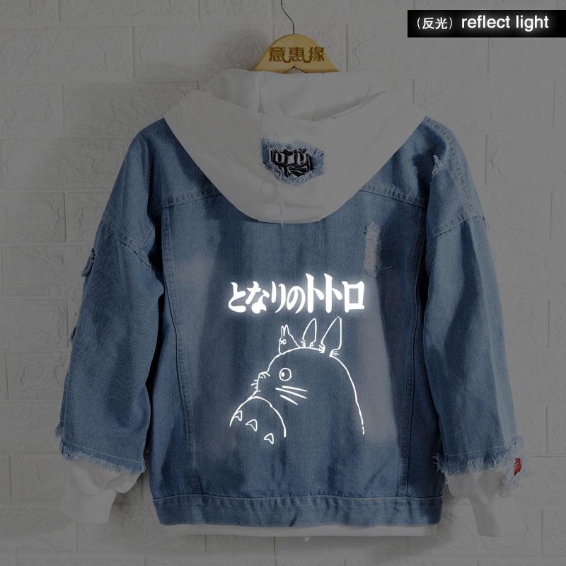 New Spring Miyazaki Hayao Totoro Hoodie Anime Jeans Coat Men Reflect Light Women Fashion Jacket