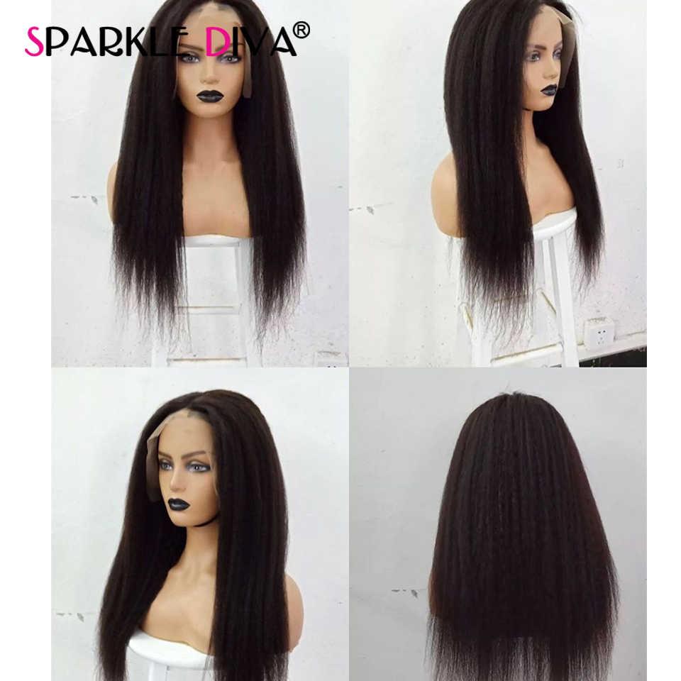 Pelucas de cabello humano 13x4 con encaje liso, pelucas de encaje brasileño italiano Yaki sin pegamento, pelucas de cabello humano 150% Remy