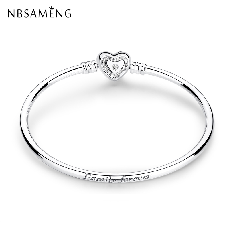New Authentic 925 <font><b>Sterling</b></font> <font><b>Silver</b></font> Fit <font><b>Pan</b></font> Charm Bead Wishful Heart CZ Clasp Bangles Family Forever Moments <font><b>Bracelets</b></font> DIY Jewelry image