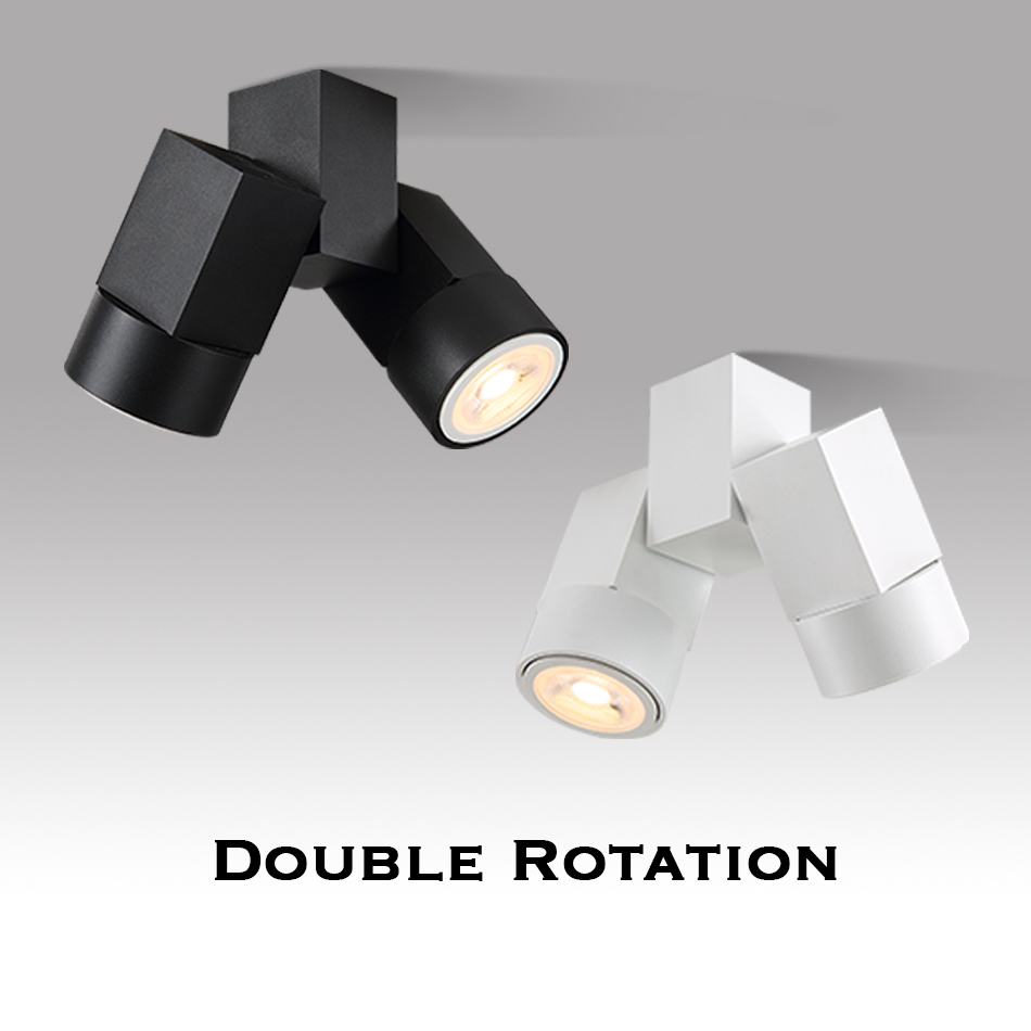 LED Downlight Gu10 Double Head Angle Adjustable Spot Light Warm White/Natural White Indoor Foyer Surface Mounted Down Light