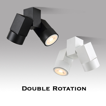 Indoor Lampu LED Downlight LED GU10 180 Adjustable Double Surface Mount Lampu Sorot Putih/Hitam Lampu Langit-langit