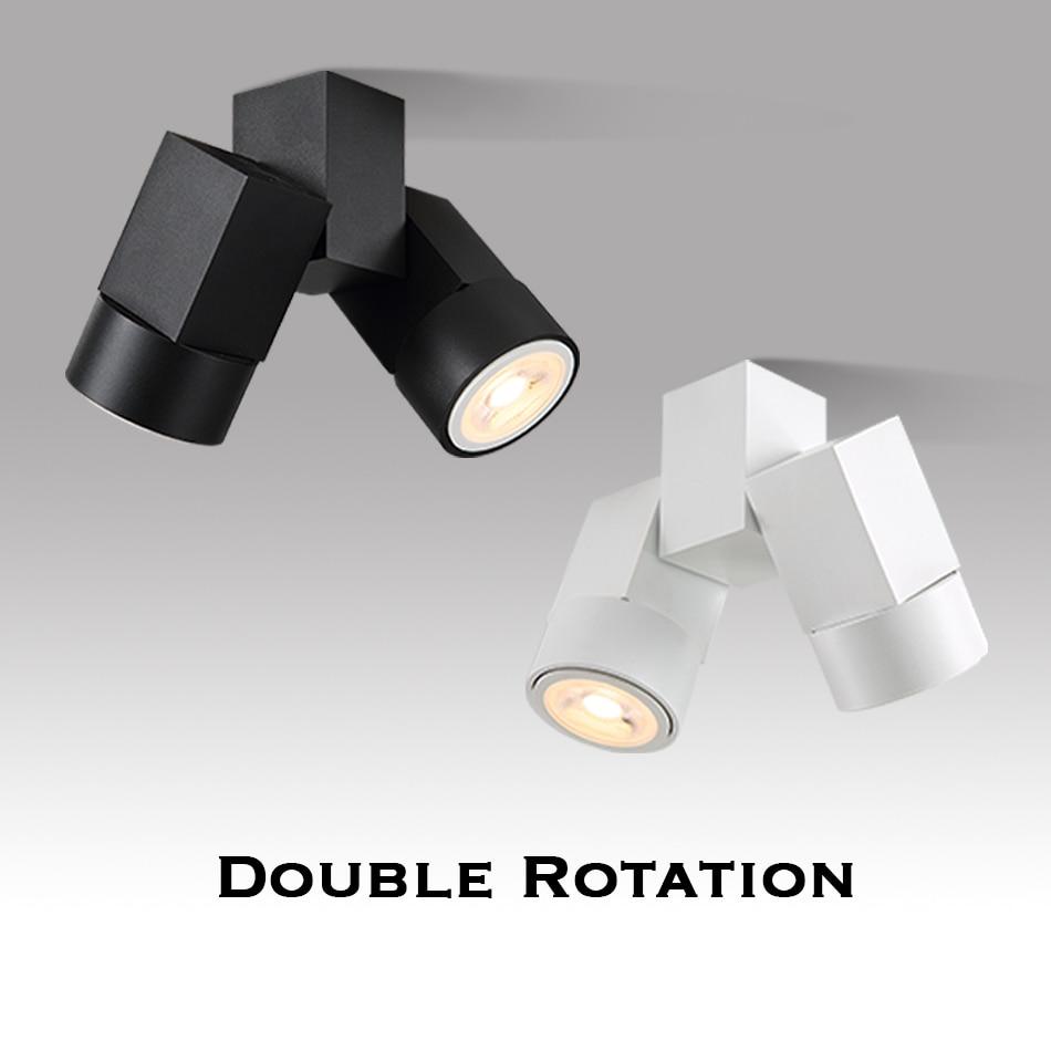 Indoor led downlight gu10 180 adjustable double surface mount spotlight white/ black ceiling light