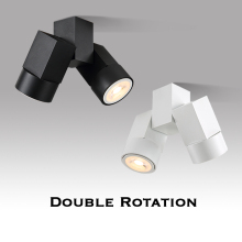 Indoor led downlight led gu10 180 adjustable double surface mount spotlight white/ black ceiling light