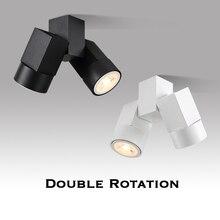 Interior levou downlight levou gu10 180 ajustável dupla montagem em superfície holofotes branco/preto luz de teto