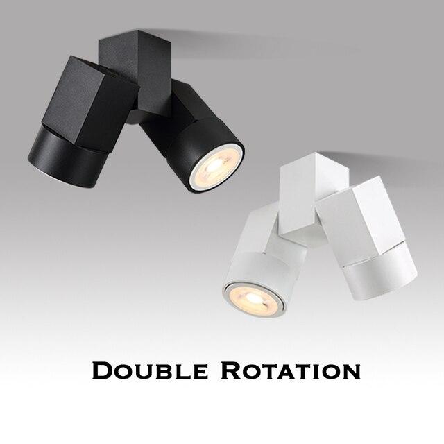 Kapalı led downlight led gu10 180 ayarlanabilir çift yüzey montaj spot beyaz/siyah tavan ışık