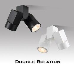 Kryty led downlight led gu10 180 regulowane podwójne do montażu powierzchniowego reflektor biały/czarny sufit światła