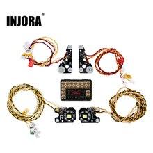 INJORA TRX4 RC samochodowa przednia tylna lampa LED grupa dla 1/10 gąsienica RC Traxxas TRX 4 Defender