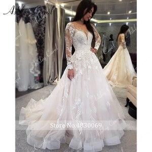 Image 4 - アシュリーキャロルセクシーな v ネックアップリケチュールウェディングドレス 2020 イリュージョン背中長袖プリンセス自由奔放に生きる花嫁レースのウェディングドレス
