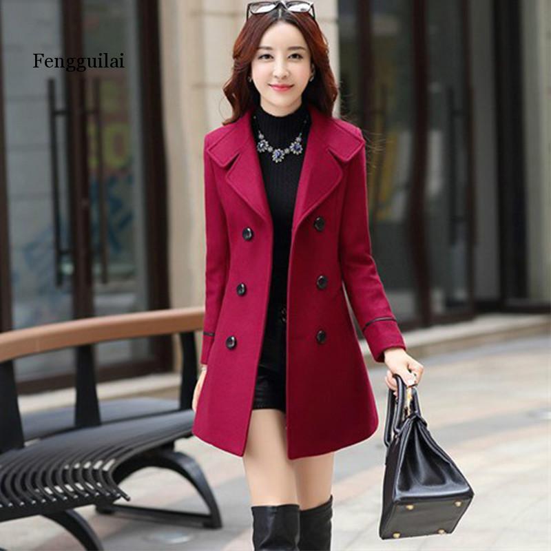 Women Warm Wool Long Coat Slim Fit Long Sleeve Outwear Trench Jacket With Belt