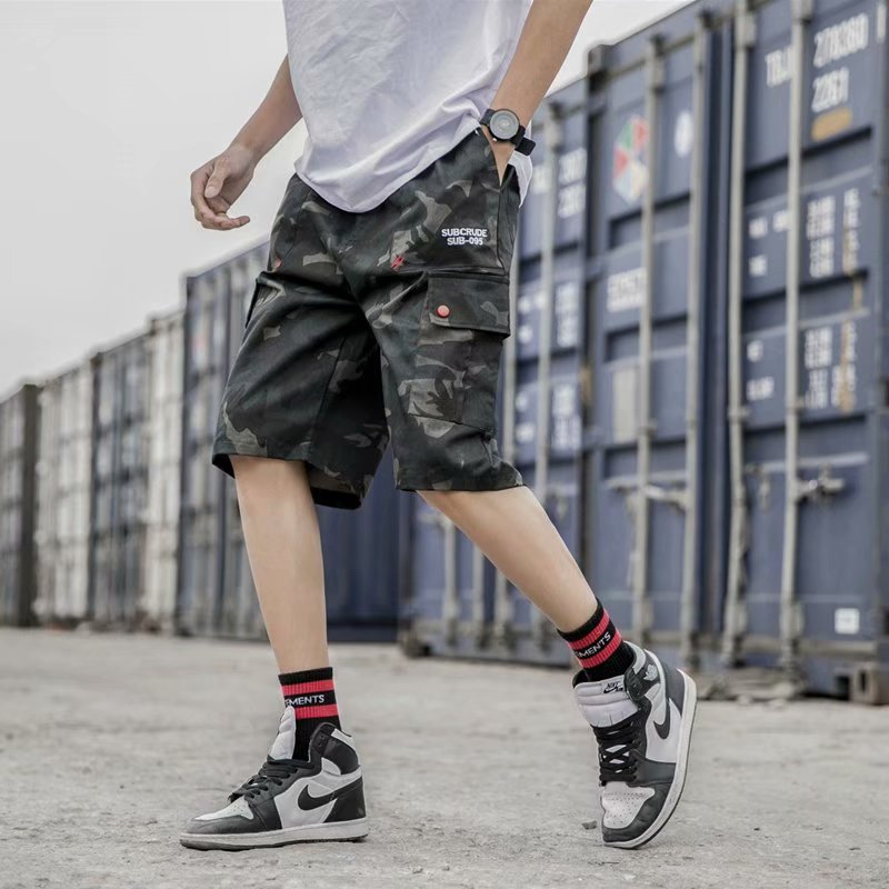 Japanese-style Street Fashion Workwear Shorts Summer Korean-style Teenager Loose-Fit Camouflage Shorts Men's Shawn Shorts