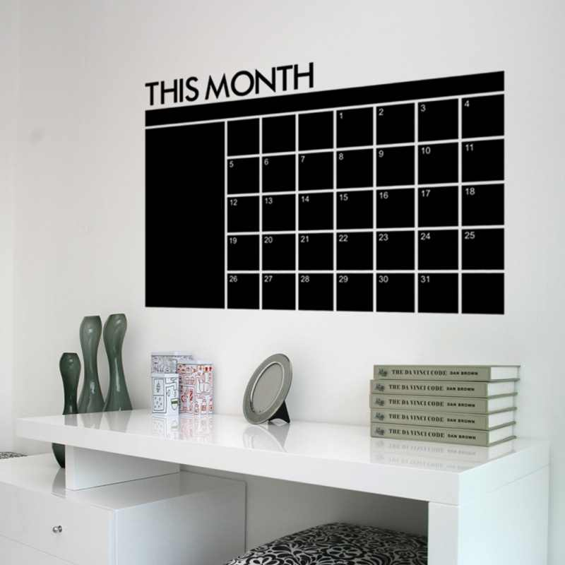 Removable Planner Wall Stickers Black BoardMonth Calendar