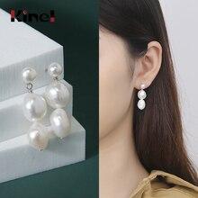 Kinel 100% 925 Sterling SilverJewelry Earrings Natural Freshwater Pearl Earrings women Silver Wedding Earring [meibapj] 925 sterling silver 4 items pearl leopard sets 100