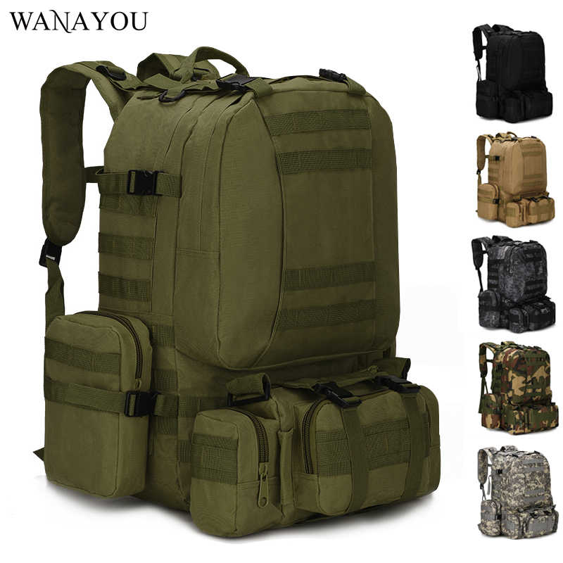 8Colors 50L Tactical Backpacks Hiking Rucksack Travel Backpacks Fishing Huting Climbing Bags 4 in 1 Multifunction Bags