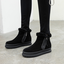 Plus Size 34-43 Top Quality Genuine Sheepskin Leather Woman Snow Boots Fashion Platforms Winter Boots Natural Fur Warm Wool Shoe mylrina top quality genuine sheepskin leather natural fur snow boots 100% real wool non slip new fashion waterpoof women boots