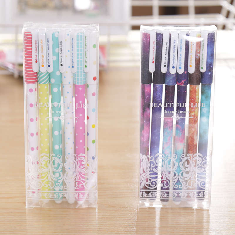 6 Pack Cartoon Color Gel Pen Kawaii Creative Stationery Pen Cute School Office Stationery Student Stationery Prize Writing Pen