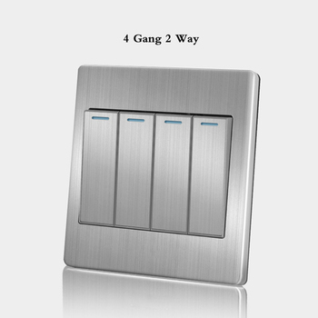 86 Type wall switch panel Five hole socket with switch Brushed Stainless steel 5-hole socket Household 1 2 3 4Gang 1 2Way switch 12