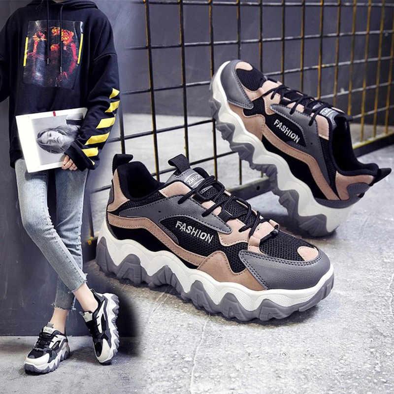 Frauen Frühling Winter Casual Turnschuhe Weibliche Spitze Up Mesh Dad Chunky Turnschuhe Frau Flache Plattform Komfort Mode Damen Schuhe