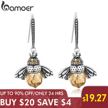 BAMOER מכירה לוהטת אמיתי 925 סטרלינג כסף יפה כתום Bee בעלי החיים Drop עגילים לנשים תכשיטים מתנה Bijoux SCE149