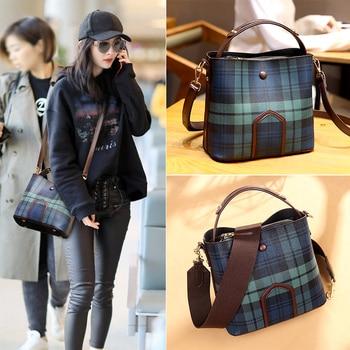 2020 Hot Sale Large Capacity Bucket Bag Vintage Plaid Pattern Single Shoulder Messenger Bag for Women Elegant Girl Crossbody Bag