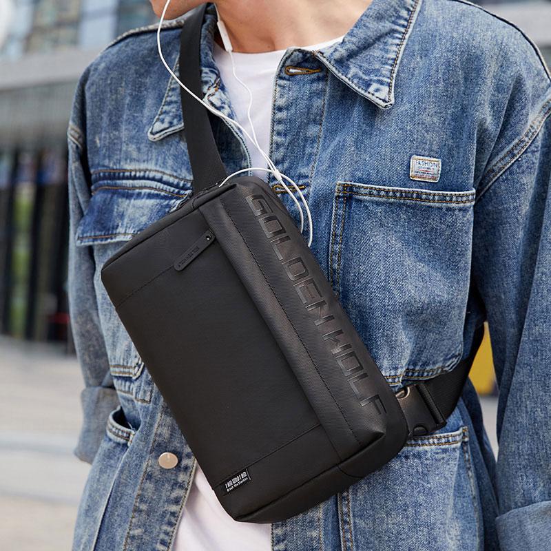 Goloen Wolf Crossbody Side Bag for Men Fashion Casual Shoulder Messenger Bags Male Waterproof Short Trip Men's Chest Bag Pack