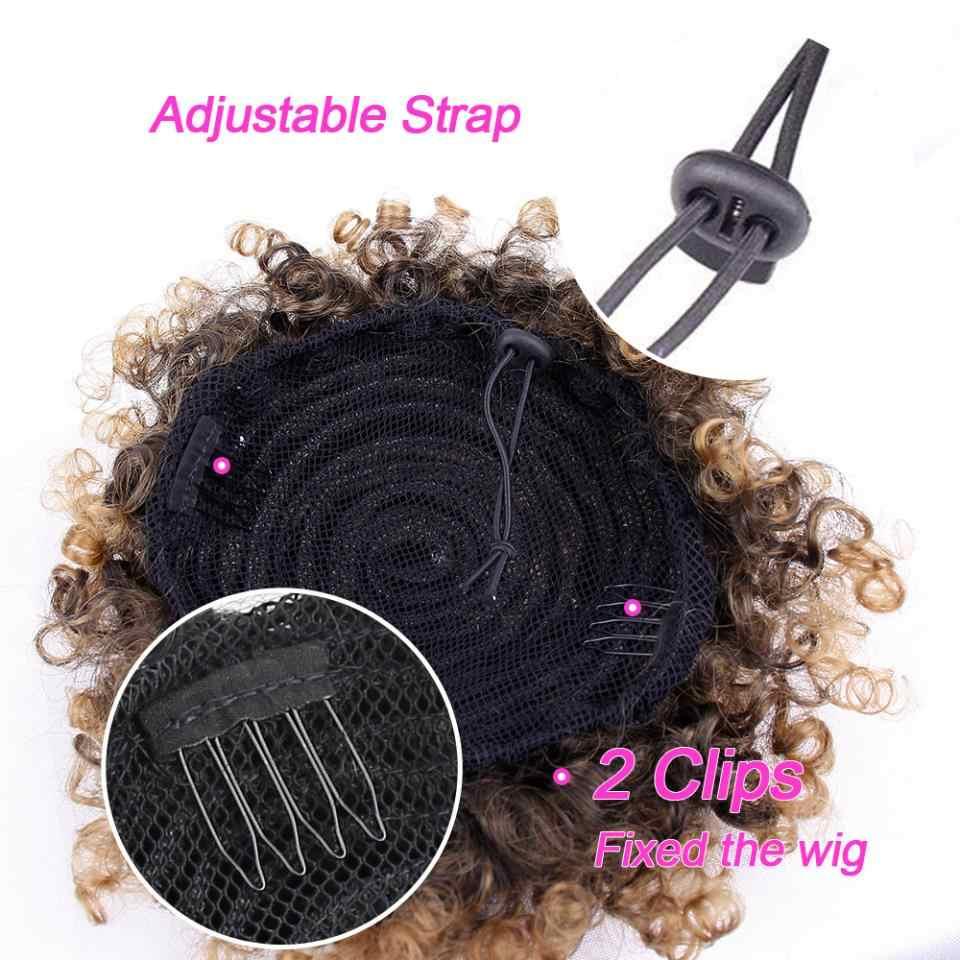 6 pulgadas corto Afro Puff pelo sintético bollo Chignon horquilla para mujeres cordón Cola de Caballo rizado extensiones de cabello
