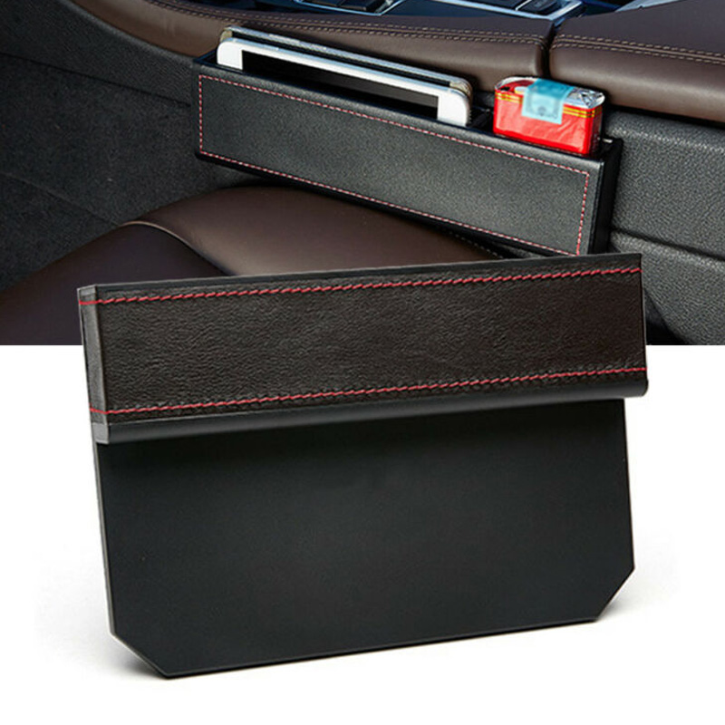 2pcs Car Auto Storage Box Case Seat Console Gap Filler Pocket Organizer Parts