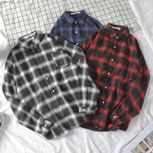 CPTAIN TENEs Autumn 2019 New Mens Simple Fashion Retro Topcoat Casual Long-sleeved Lattice Shirt