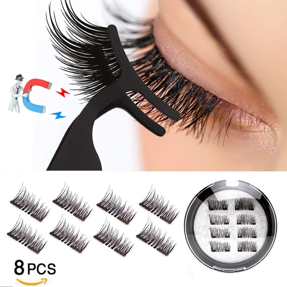 LEKOFO 8Pcs Magnetic Eyelashes With 2 magnetic lashes 3D False Natural For Mink Eye lashes Extension Long faux cils magnetique 1