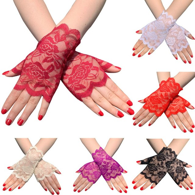 6 Pairs Fingerless Women Lace Gloves Floral Lace Gloves Sunblock Lace Gloves Dressy Gloves for Wedding Dinner Parties ST254