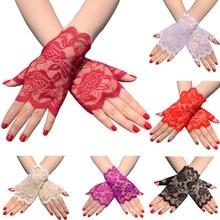 6 ペア指女性のレースの手袋花レース手袋日焼けレース手袋ドレッシー手袋結婚式のディナーパーティーST254