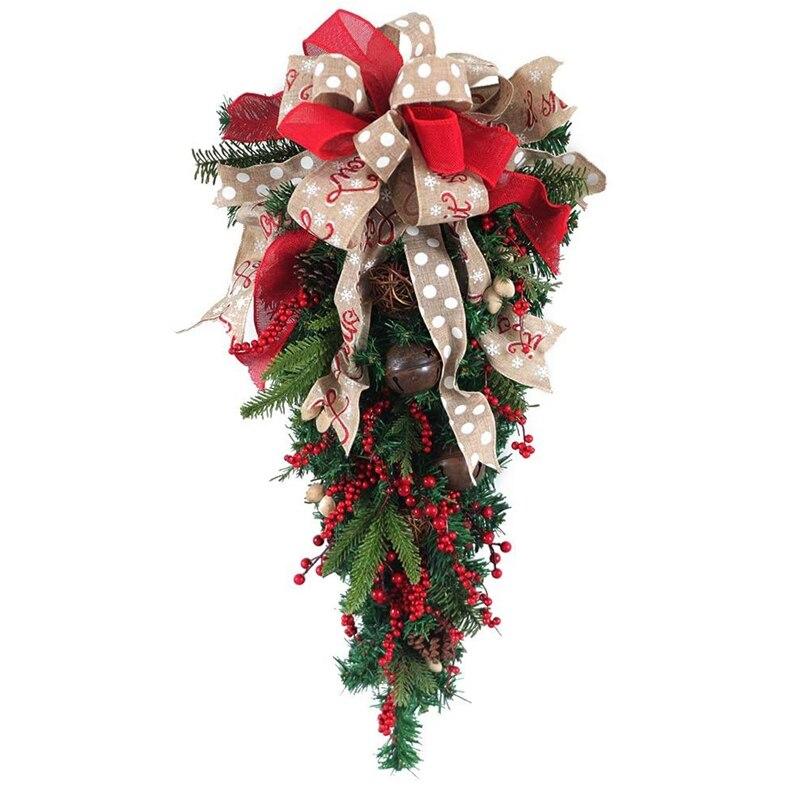Рождественское украшение, венок, лента, сосновый конус, дверное крепление, каплевидный венок, наружное подвесное украшение на стену